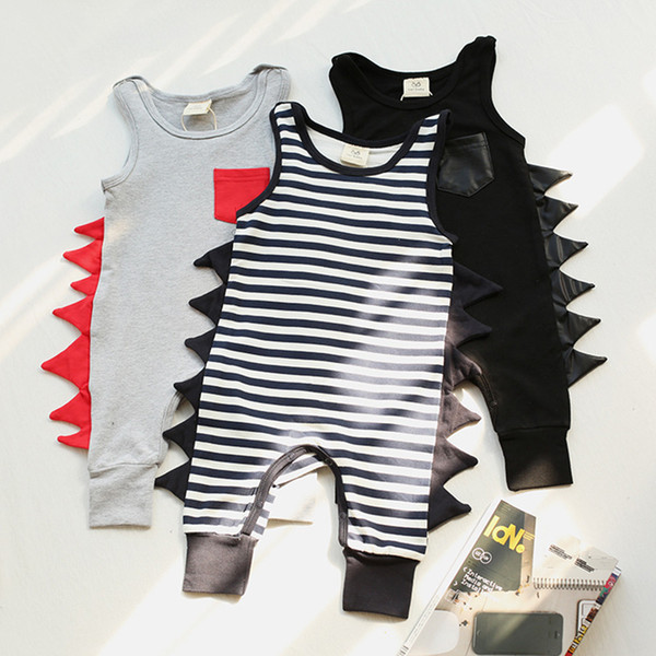 Baby Dinosaur Jumpsuit Sleeveless Hip-hop Rompers Cotton Dinosaur Design Rompers Summer Outfits Baby Boy Clothing Sets 0-24M