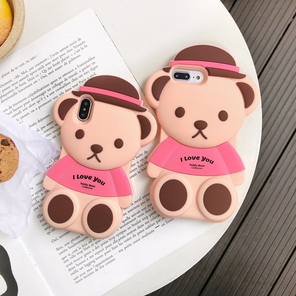 For iPhone XR XS Max 3D Cartoon Cute Bear Soft Silicone Rubber Animals Kawaii Character Protective Case For iPhone 8 7 6 Free Shipping