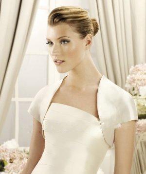 Hot selling high neck short sleeve Satin Custom Wedding Shawl Coat of bolero jacket Free Shipping Wedding Accessories