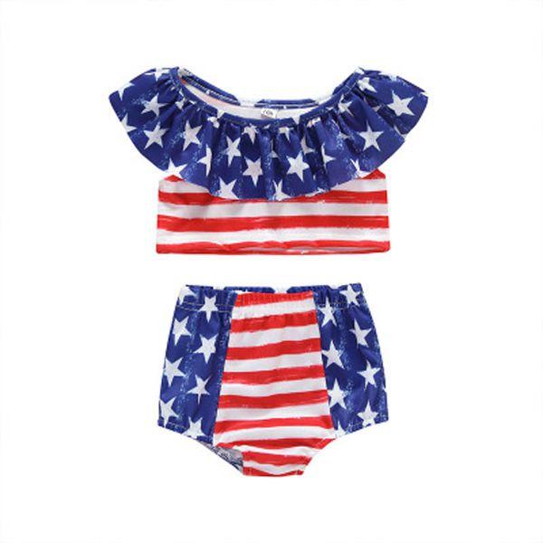 Traje de baño de verano para niña Bandera estadounidense Día nacional de la independencia Día de los Estados Unidos 4 de julio Star Girls Stripe Lace Lace Sleeveless Set de dos piezas