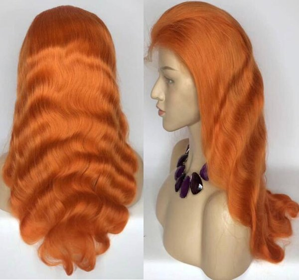 Celebrity Wigs Full Lace Wig Orange Color Body Wave 130% Density Vrgin European Human Hair Lace Front Wig for Black Woman Free Shipping