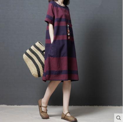 Pamuk Keten Serisi # Yaz Elbise Kadın Artı Boyutu Baskı Çizgili Kadın Sundress Vestidos Giyim Rahat Gevşek Zarif Uzun Elbiseler 9627