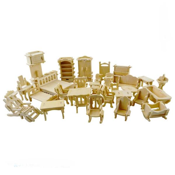 34pcs/set DIY Mini Kids Educational Dollhouse Furniture 3D Woodcraft Puzzle Model Kit Handmade Toys Children Handworked gift