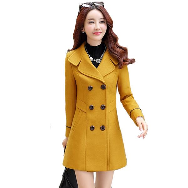Neue Herbst Winter Frauen Wollmantel Dünne Windjacke Mäntel Weibliche Mode Plus größe Gelbe Wollmischungen Jacken einfarbig H711