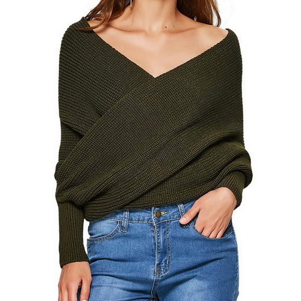 fashion Woman sweater Leisure time Front Crossed Open Shoulder Knitted Sweater Shawl for Women with Explosive Sweaters