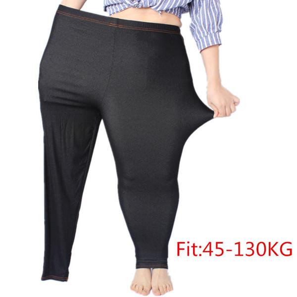 Artı Boyutu Kadın Tayt 5XL Faux Denim Jeans Jeggings Legging Büyük Siyah Streç Sıska Kalem Pantolon Yüksek Elastik Pantolon