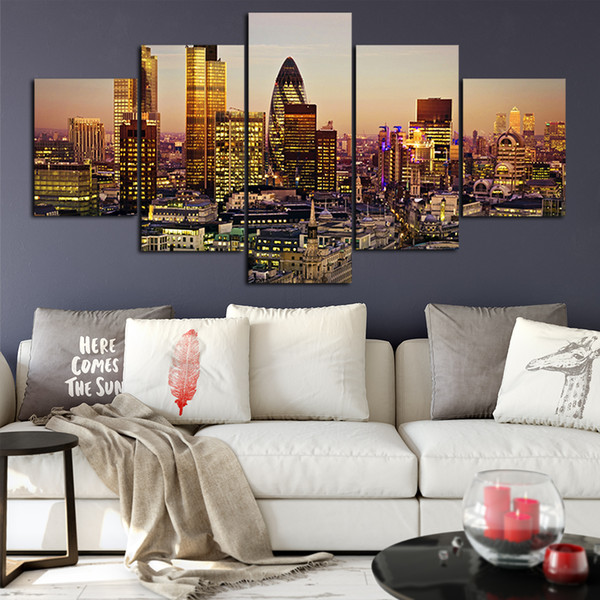 Canvas Posters Home Decor Wall Art Framework 5 Pieces London City Paintings For Living Room HD Prints Modern Landscape Pictures