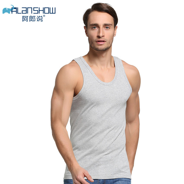 ALANSHOW Hombres Camisetas sin mangas de algodón Ropa interior para hombre Camiseta transparente Camisas masculinas Fitness Wrestling Singlets