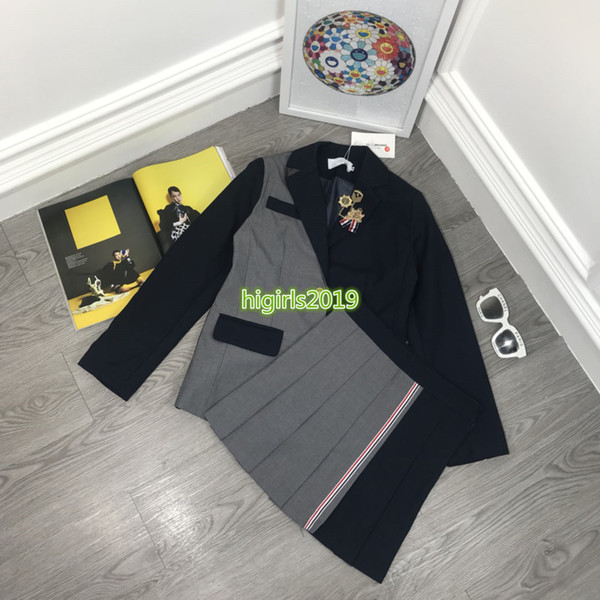 high end women girls dress set blazer jackets patchwork peak lapel brooch long sleeves outerwear a-line pleated skirt fashion design suit