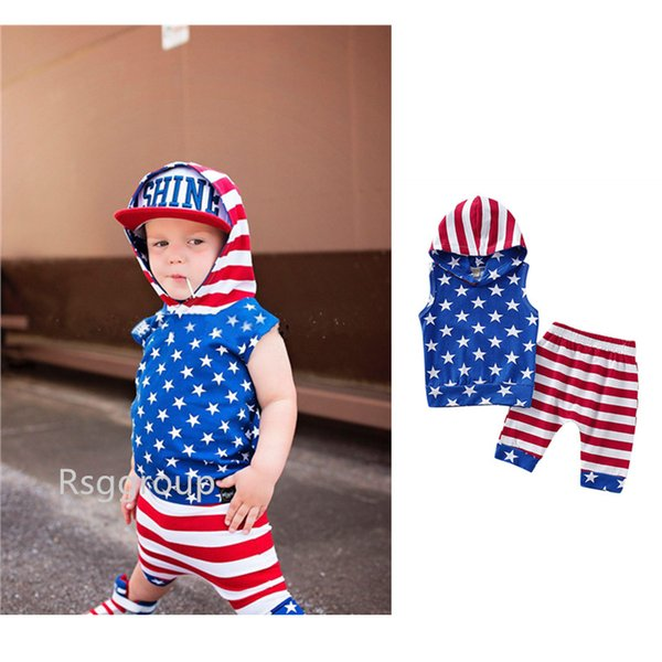 New 4th of July Designer Toddler Baby Boys Sleeveless Hoodies Suits Stars Printing Strips Shorts 2pieces Set Child Girls Outfits for 0-3T