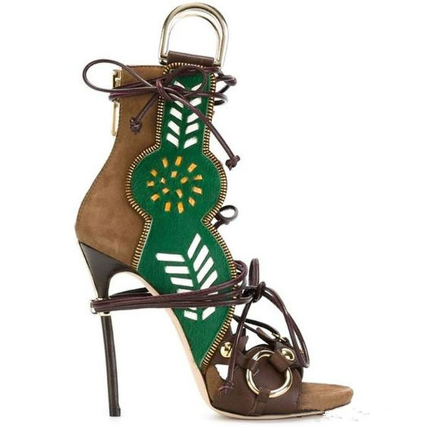 SS straps women high-heeled gladiator sandals spell color hollow fish head boots metal ring decorated lady ankle boots summer zapatos