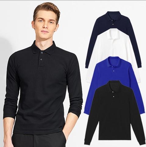 2019 yeni erkekler polo gömlek uzun kollu casual pamuk T-shirt erkek açık giyim streetwear poloshirt 4 Doğal Renkler