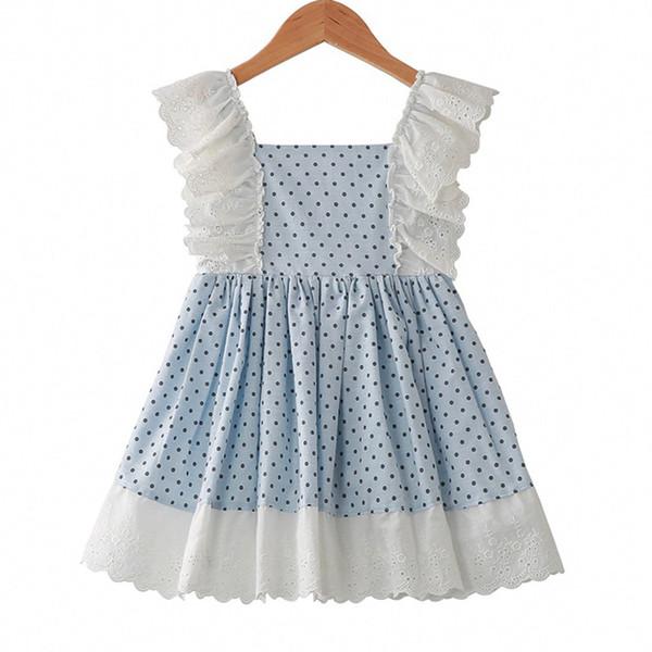 Vestido de encaje para niñas pequeñas Niños Dot Ruffle Vestido sin espalda Trajes de diseñador de niños Ropa Cremallera de encaje con cremallera de encaje para niñas 06