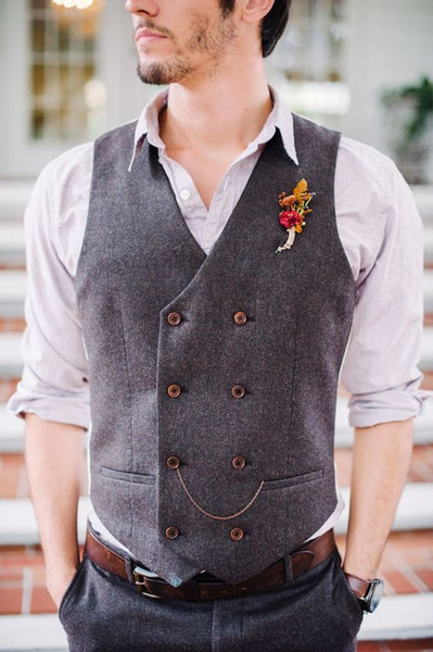 Cheap Groom Vests Farm Wedding Wool England Style Vests Custom Made Slim Fit Mens Suit Vest Prom Wedding Waistcoat Double Breasted
