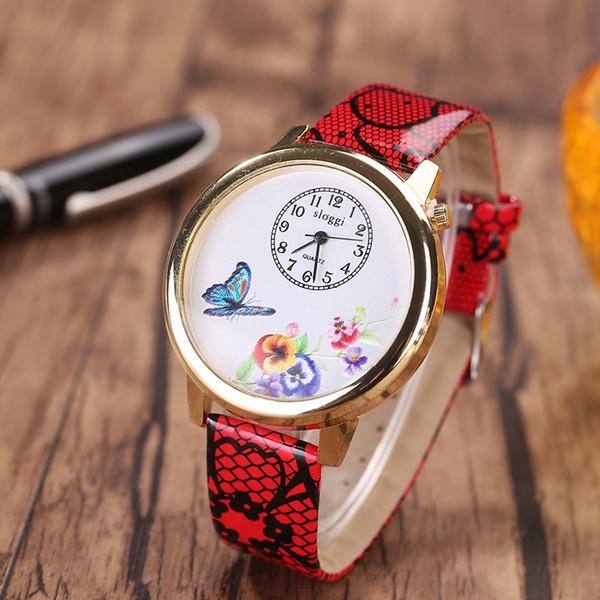 Quartz Fashion Weave Wrap Around Bracelet en cuir Bracelet Femmes Love of Butterfly peau de serpent grain Girl Watch