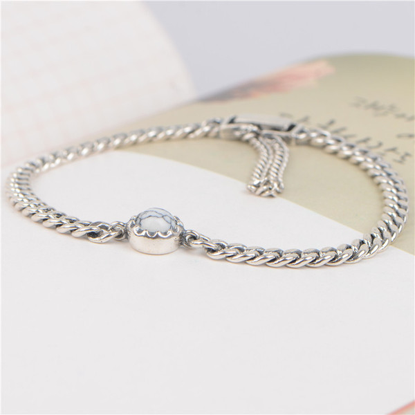 Restoration of old Thai silver chain bracelet S 925 pure silver white pine Bracelet Japanese and Korean version of personalized marble jewel