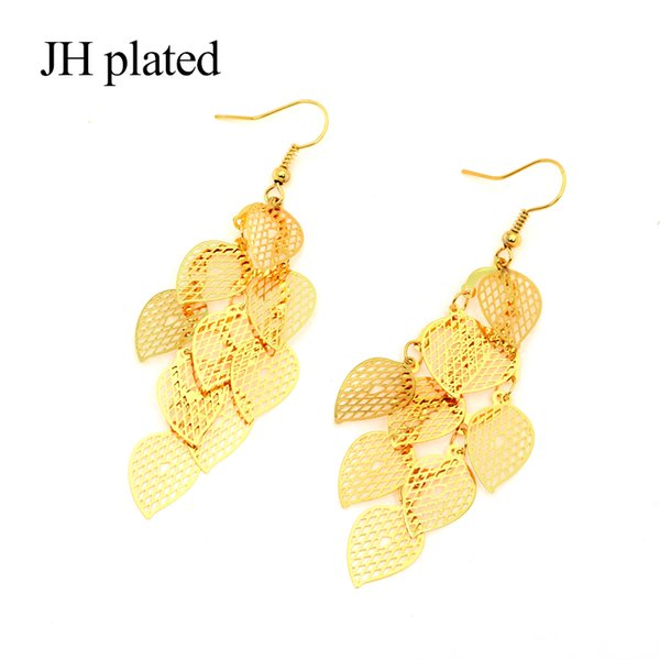JHplated Dubai Africa 2019 lady Wedding Gift Party Anniversary Gift Golden Drop Earrings Women Leaf Long Pendant Makeup Jewelry