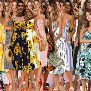 Boho floral sin mangas Midi vestidos 33 estilos mujeres imprimir verano con cuello en V bolsillos sin respaldo plisado botón vestidos LJJO6295