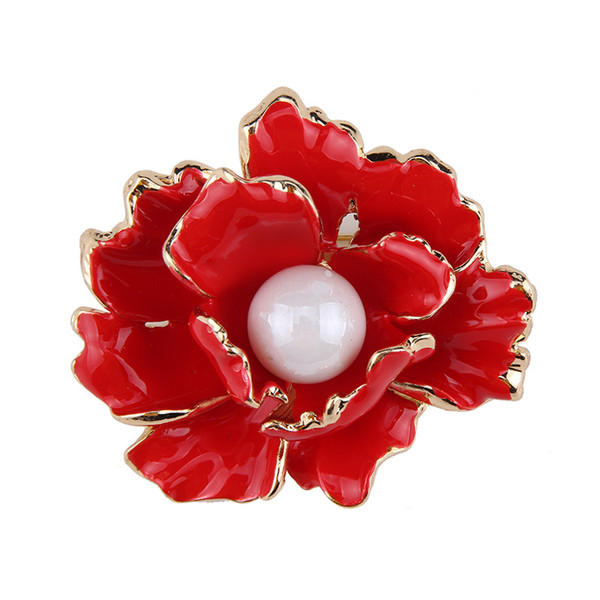 24PCS Red Peony Flower Blue Enamel Brooches Women Men's Metal Simulated Pearl Elegant Flower Party Banquet Weddings Brooch Noble Gifts