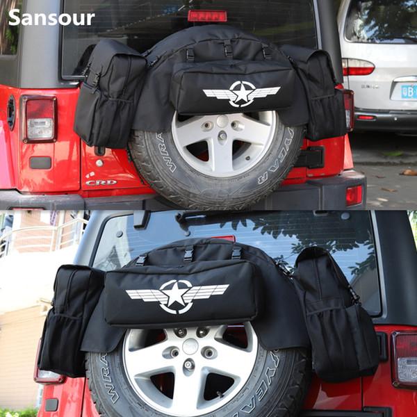 Estiva Tidying Spare Tire Multi funcional Camping ferramenta saco traseiro Tronco Pet Mat Para Jeep Wrangler JK JL 07 Up Sansour