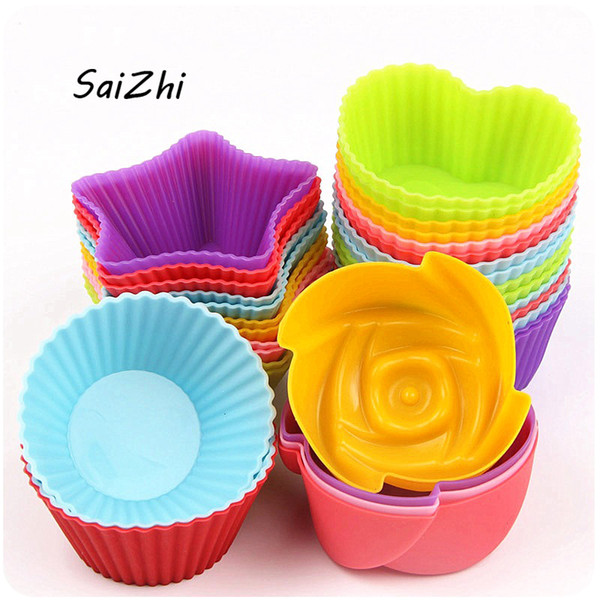 5PCS Silicone Cupcake Circle Heart Star Flower Shapes Jelly Pudding mold 7*3 cm Cake Tool Kitchen Accessories QC5643