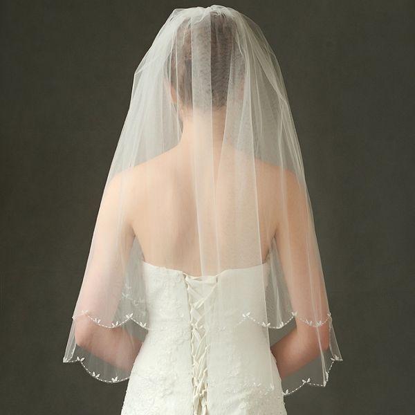 Wedding veils elbow length beaded edge 2019 new style bridal veils wedding veil white color hot sale