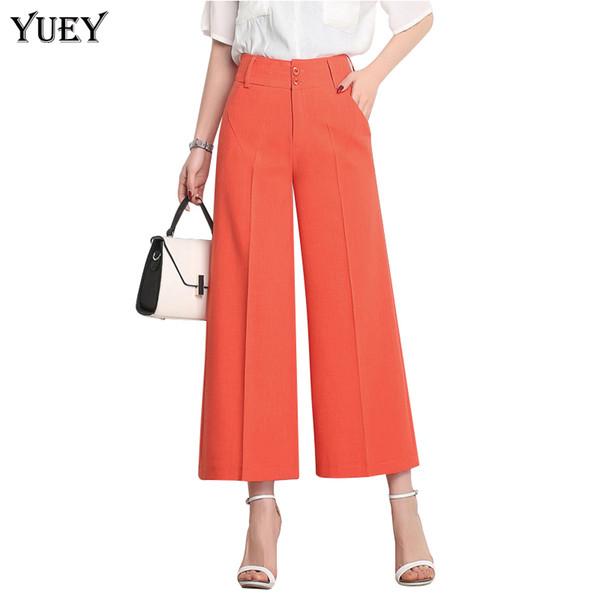 Brand New Women Wide Leg Cropped Pants High Waist Plus Size Fashion Loose Female Summer Thin Pantorrilla Lengt Pants White Red Blue 6xl Y19071801