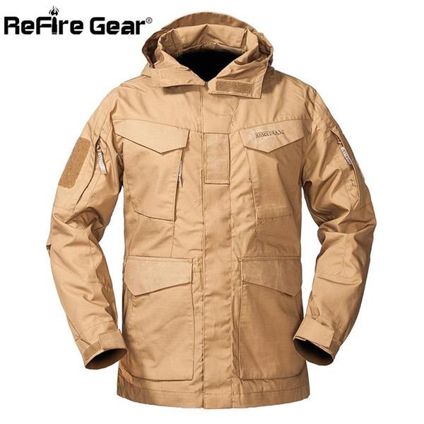 ReFire Gear M-65 Military Tactical Field Jacket Men Autumn Waterproof Windbreaker Md-long Pockets Flight Hoodie Army Coat Jacket