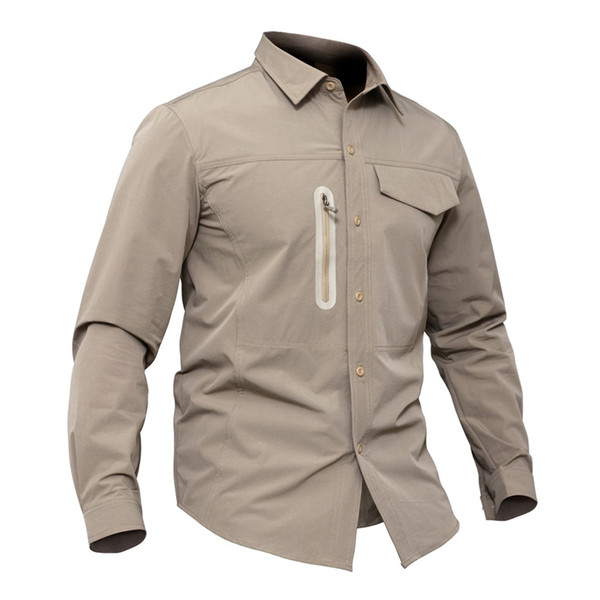 Spring Autumn Men Sports Breathable Thin Quick Dry Military Long Sleeve Shirt Outdoor Hiking Fishing Training Pocket Lapel Tactical Shirts