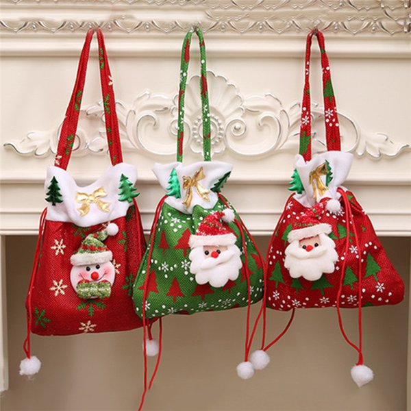Noel Christmas.2019 Cute Christmas Santa Claus Gift Bags Sacks Merry Christmas Noel Decoration Good Surprised Shrink Wrap Candy Bags For Kids From