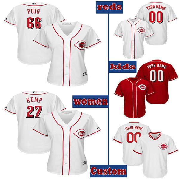 Custom Cincinnati womens & kids knit Jersey Reds 19 Joey Votto 66 Yasiel Puig 33 Jesse Winker 27 Matt Kemp Baseball Jerseys