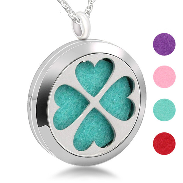 Aromatherapy Essential Oil Stainless Steel Four-leaf Clover Necklace Accessories Charm Hollow Diffuser Pendant