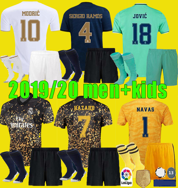 best selling men kids 2019 2020 Real Madrid soccer jersey fourth EA sports 4th child kits 19 20 HAZARD SERGIO RAMOS BENZEMA football shirt uniforms