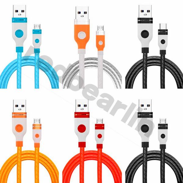 Para s8 s9 s10 usb cabo 1 m 3ft 2.4a tipo c micro 5pin tpe liga usb cabos de carregamento de dados para samsung s6 nota 8 9 htc android phone