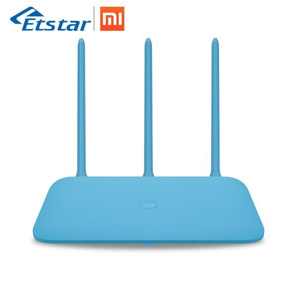Yeni Orijinal Xiaomi Mi Router 4Q 3 Antenler Mavi Kablosuz 2.4G 802.11b / g / n 450 Mbps APP Kontrol 64 M ROM / RAM Wifi Kablosuz Yönlendiriciler