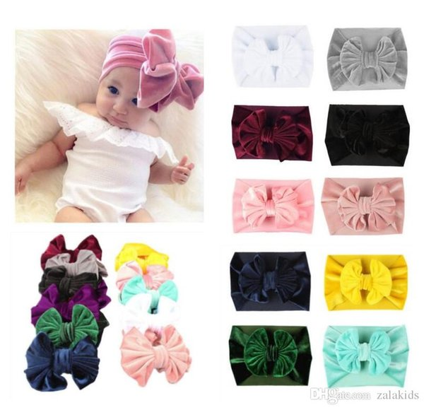 New Christmas Toddler Princess Big Bow Headbands Infant Baby Girls Velvet Hairbands 2018 Babies Stretchy Hair Accessories