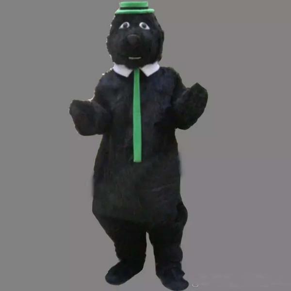 Professional custom black plush bear Mascot Costume cartoon green hat fat bear animal character Clothes Halloween festival Party Fancy Dress