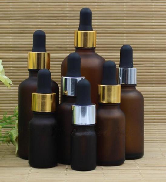 bottiglia di vetro ambrato smerigliato 10ml 15ml 20ml 30ml 50ml bottiglia di contagocce in vetro opaco 100ml con tappo nero bianco argento dorato per olio essenziale