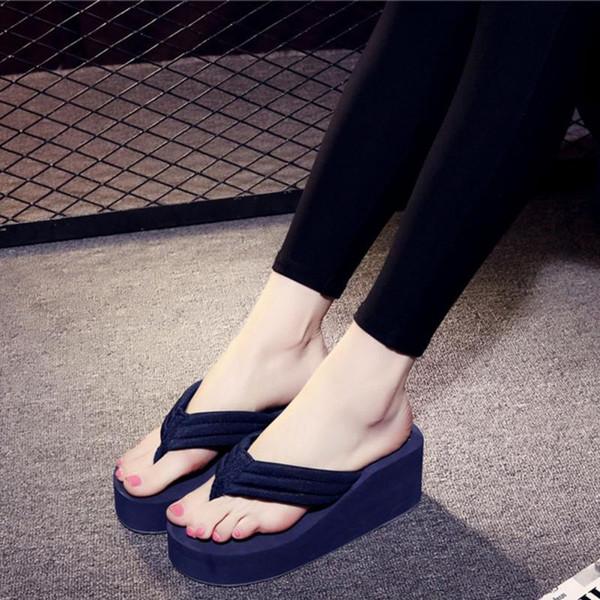 Women's Flip-flops Mid Heels Anti-Slip Wedge Sandals Indoor Outdoor Platform Slippers 2019 Summer Beach Fashion Slippers