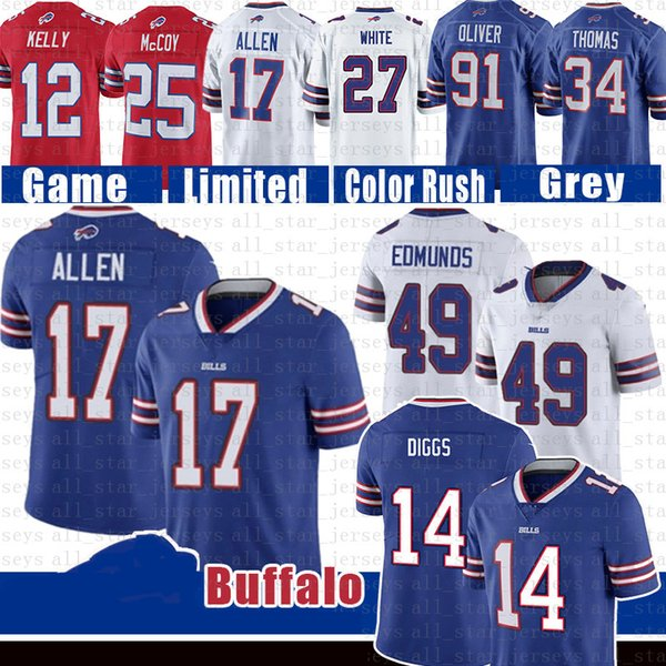 best selling Stefon Diggs Buffalo 17 Josh Allen Bill Football Jersey Tremaine Edmunds Tre'Davious White Oliver Jim Kelly Thurman Thomas Williams Dareus
