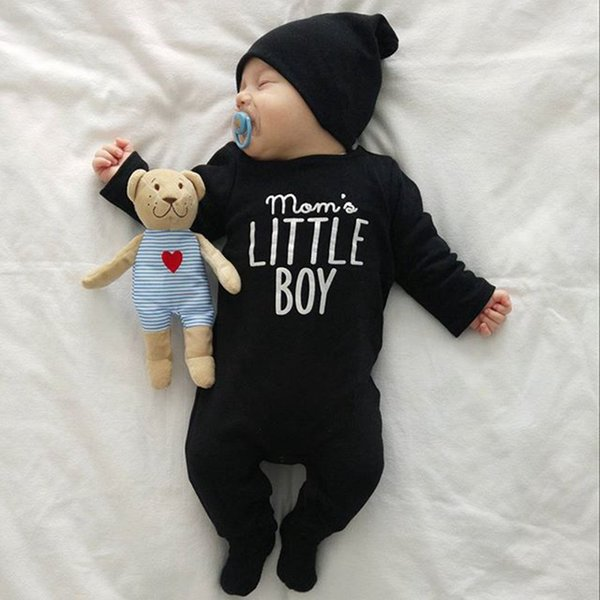 New Fashion newborn baby rompers baby boy girls clothing long sleeve letter jumpsuit black children clothing