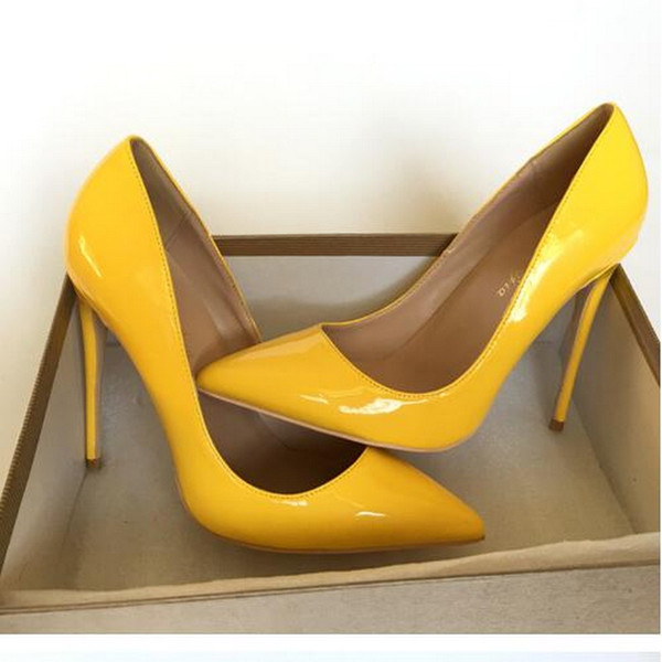 Class Yellow Patent Leather High Heels