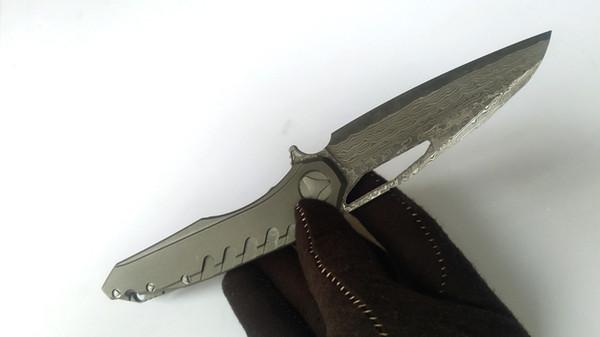 Parfait Couteau Personnalisé Sigil Flipper Damas Acier Gris Titane Poignée Tactique Couteaux Pliants Meilleur EDC Outils De Survie Livraison Gratuite