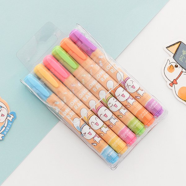 Candy Scent Highlighter 6 Colors Set Creative Cute Mini Heart Marker Pen Color Marked Graffiti Stationery