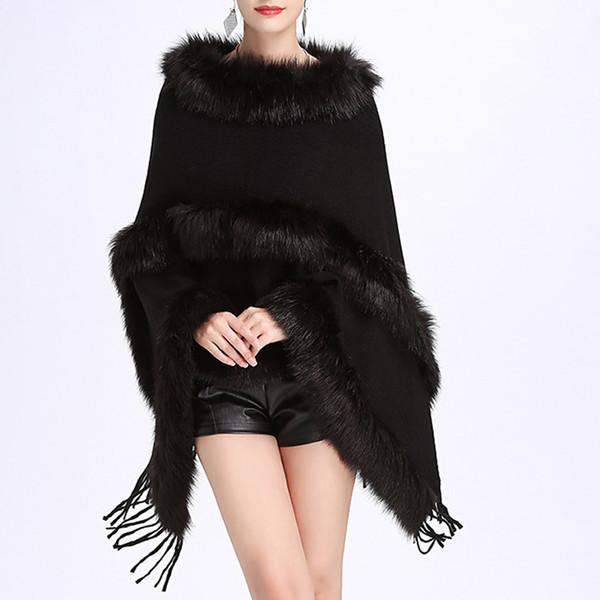 Ponchos et capes à manches chauve-souris en fausse fourrure gothiques pour femmes