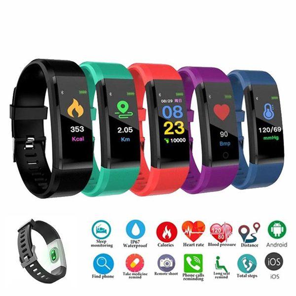 Id 115 plu mart bracelet for creen fitne tracker pedometer watch counter heart rate blood pre ure monitor mart wri tband