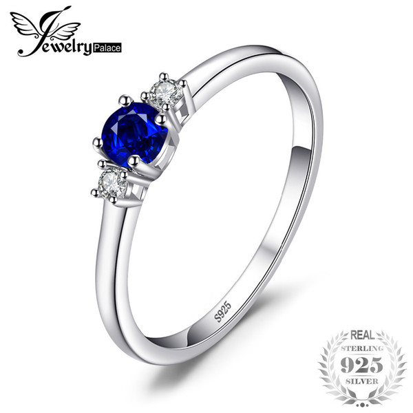 Jewelrypalace Classic 0.5ct Round Created Sapphire 3 Stones Engagement Promise Ring 925 Sterling Silver Fashion Rings For Women J190525