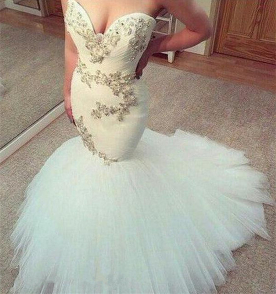 Fit and Flare 2019 Mermaid Wedding Dresses Sexy Sweetheart Sleeveless Beaded Crystals Appliques Ruched Tulle Skirt Bridal Gowns Sweep Train