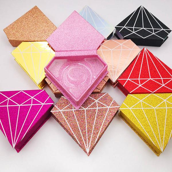 Boîte de cils de vison 3D fauve diamant fauve cas de cils vison paquet cils boîtes de cils cadeaux boîte d'emballage magnétique cas RRA1786
