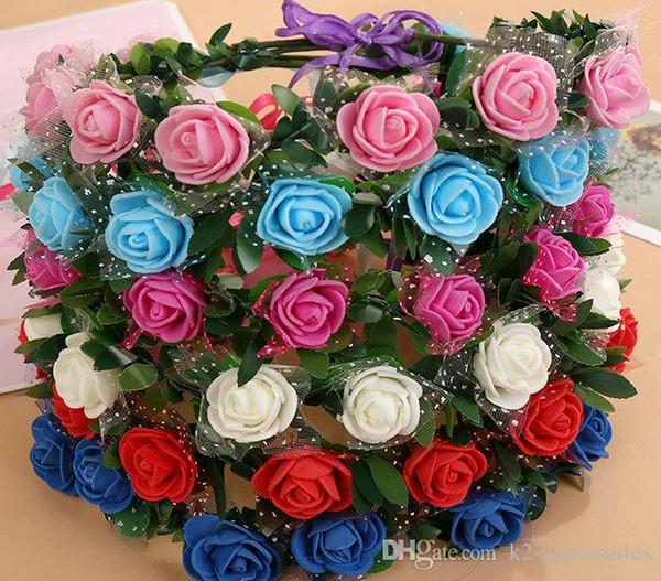 Tête de mariage couronne de fleurs couronne de fleurs guirlande guirlande Hawaii couronne de fleurs Bohème bandeau Bijoux de cheveux